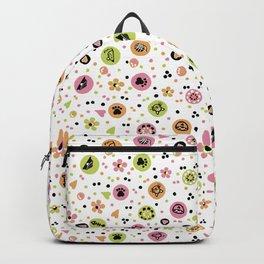 I love Cats - Cat Lovers Heart Flower Meadow - Pink & Spring Green Feline Meow Backpack