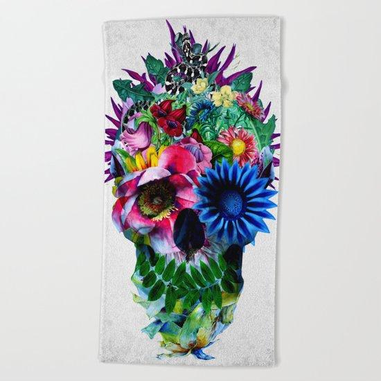 Floral Skull Beach Towel