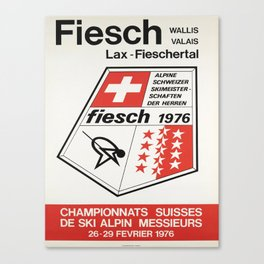 Plakat championnats suisses de ski alpin Canvas Print