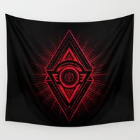 illuminati Wall Tapestries featuring The Eye of Providence is watching you! (Diabolic red Freemason / Illuminati symbolic) by badbugs_art