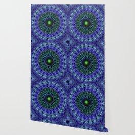 Detailed mandala in dark blue tones Wallpaper
