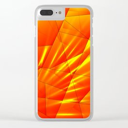 Bright sunshine on orange and yellow triangles of irregular shape. Clear iPhone Case