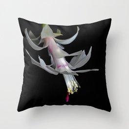 White Christmas Cactus Throw Pillow