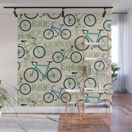 Bicycle Journey Blue Wall Mural