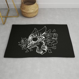 Skull 'n' Roses (NightmareNetty-Black&White) Rug