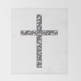 Chrome Crucifix Solid Throw Blanket
