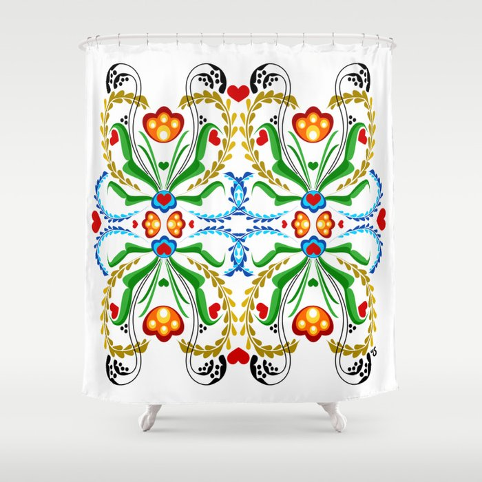 Scandinavian Folk Art Tulip Mosaic Shower Curtain By Justhappiling