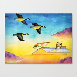 Herbert the Owl Considers Parachutes Canvas Print