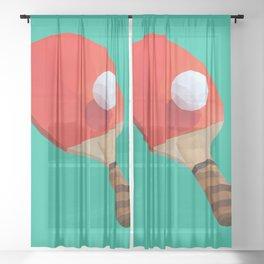 Ping Pong Paddle polygon art Sheer Curtain
