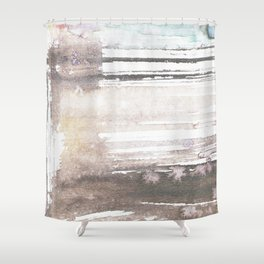 brown blue abstract watercolor Shower Curtain