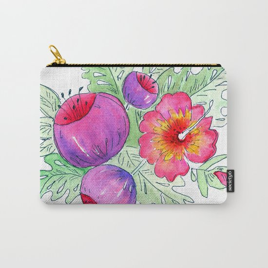 Tropical exotic flowers and leaves 2 . Carry-All Pouch