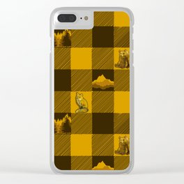 The Fox and The Bear Plaid #1 Yellow Clear iPhone Case