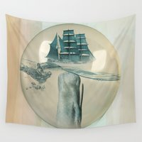 moby dick Wall Tapestries featuring The Battle - Captain Ahab and Moby Dick by Vin Zzep