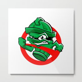 Cartoon Green trash can Metal Print