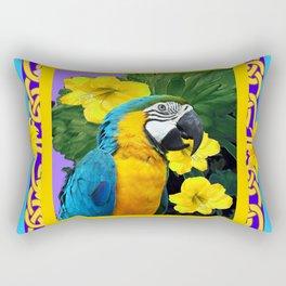 Tropical Blue & Gold Macaw Parrot Purple Art Rectangular Pillow