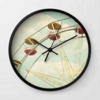 ferris wheel Wall Clocks featuring ferris wheel by Beverly LeFevre