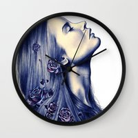 lost Wall Clocks featuring Bloom by KatePowellArt