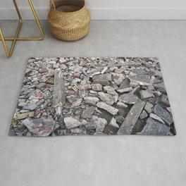 broken urban grey concrete bricks photo texture Rug