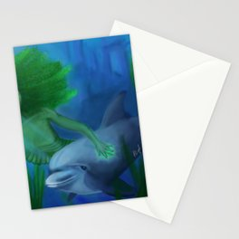 Mermaid and Dolphin Stationery Cards
