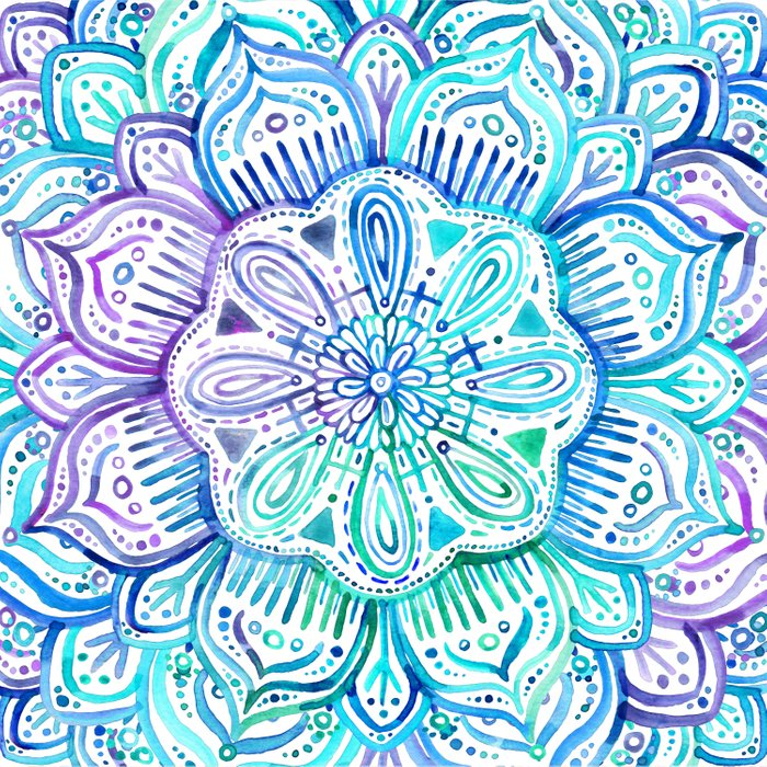 iridescent aqua and purple watercolor mandala comforters by micklyn society6. Black Bedroom Furniture Sets. Home Design Ideas