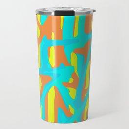 green blue orange yellow geometric line pattern painting abstract background Travel Mug