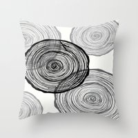 tree rings Throw Pillows featuring rings by Claire Rose Kleese