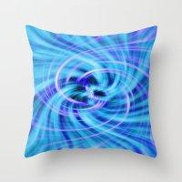 pivot Throw Pillows featuring Blue twirl by AvHeertum