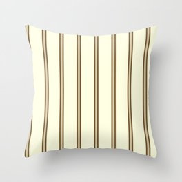 Cream and Brown Stripes Throw Pillow