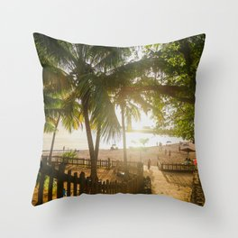 Sunset Behind Palm Trees Throw Pillow