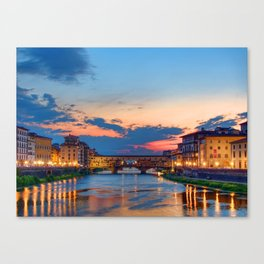 Beautiful city in Italy at sunset time Canvas Print