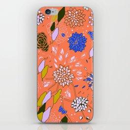 Orange Flower Pattern iPhone Skin