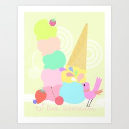 I love Icecream Art Print