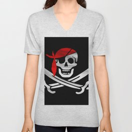 Jolly Roger pirate waving flag with skull and swords with red bandana on a silk drape  Unisex V-Neck