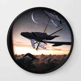 Whales Flying Above The Clouds-Looking Out The Window Wall Clock