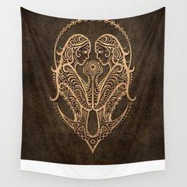 Vintage Rustic Gemini Zodiac Sign Wall Tapestry