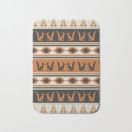 Foxes and ethnic shapes Bath Mat