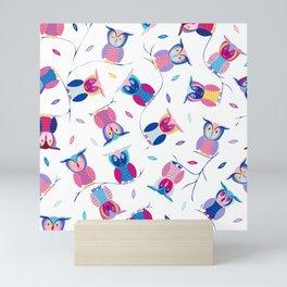 Who loves Owls? Cute & colorful owls Mini Art Print