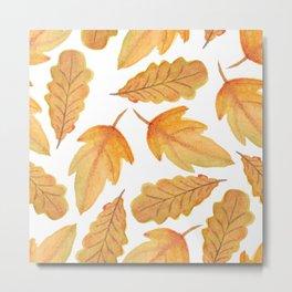 Autumn Watercolor Orange Fall Leaves Metal Print