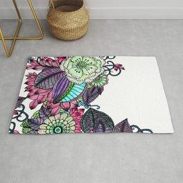 Modern hand painted magenta purple watercolor flowers Rug