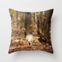 turkey Throw Pillows featuring Wild Turkey by Jai Johnson