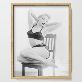 Pinup Femme Fatale Model in Lingerie Serving Tray