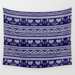 White and Navy Blue Elephant Pattern Wall Tapestry