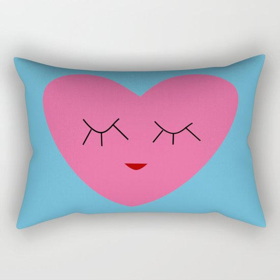 valentines heart blue Rectangular Pillow