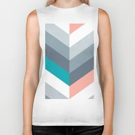 Vertical Chevron Pattern - Teal, Coral and Dusty Blues #geometry #minimalart #society6 Biker Tank