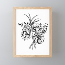 Flower bouquet in black and white, floral line drawing, pen and ink, anemone flowers, line art, flor Framed Mini Art Print