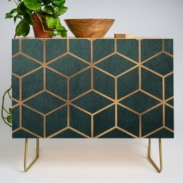 Dark Teal and Gold - Geometric Textured Gradient Cube Design Credenza