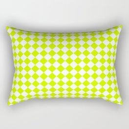 Small Diamonds - White and Fluorescent Yellow Rectangular Pillow