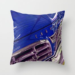 1955 Vintage Chrysler 300 Car Art Painting - Deep Blue Throw Pillow