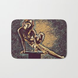 0953s-ZAC Dancer on Pedestal Graceful Young Black Woman Rendered in the Style of Antonio Bravo Bath Mat