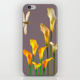 GOLD CALLA LILIES & DRAGONFLIES ON GREY iPhone Skin